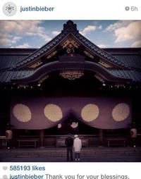 Justin Bieber apologises after posting picture of Japanese shrine to war criminals: I was misled... I'm extremely sorry
